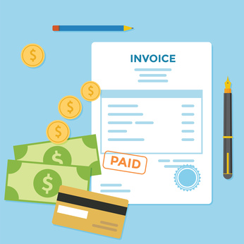 Invoice paper bill with money and credit card