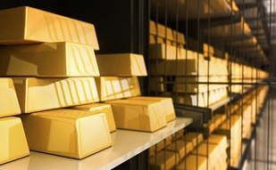 Gold bars in the Bank - 3D Rendering