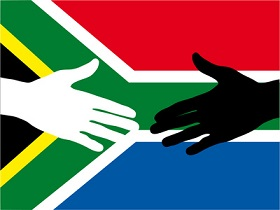 south african flag with hands
