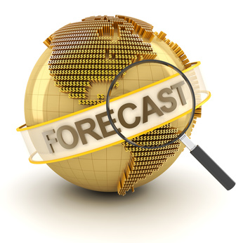 Global financial forecast symbol with globe, 3d render, white background