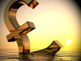 Pound Sinking In The Ocean Showing Depression Recession And Economic Downturns 3d Rendering