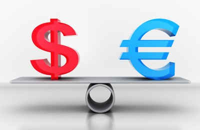 Sign dollar and euro on the scales. 3d illustration