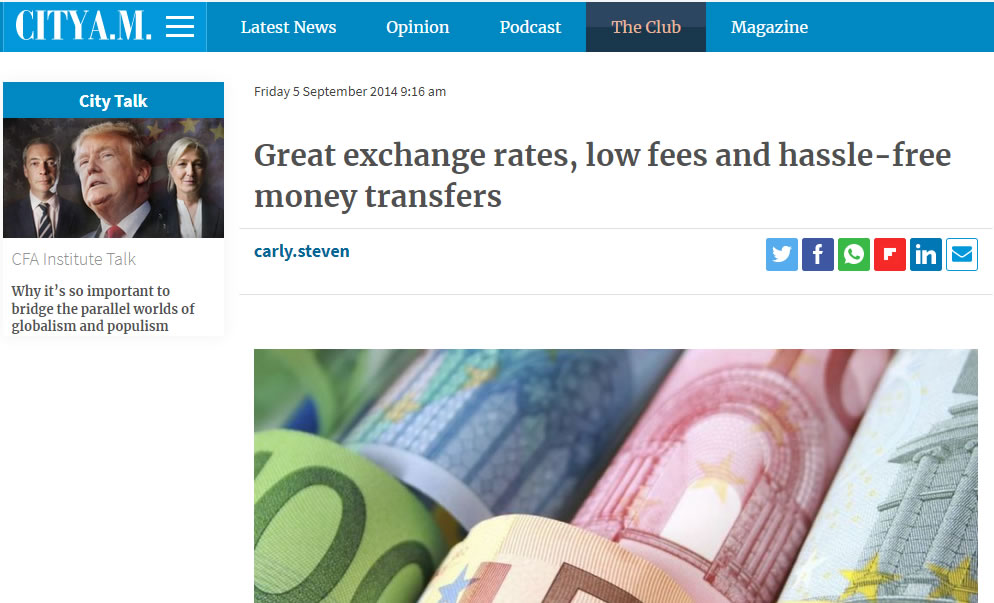 CityAM money transfer screenshot